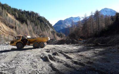 Travaux en cours en forêt domaniale de la Clarée pour la protection contre les risques naturels