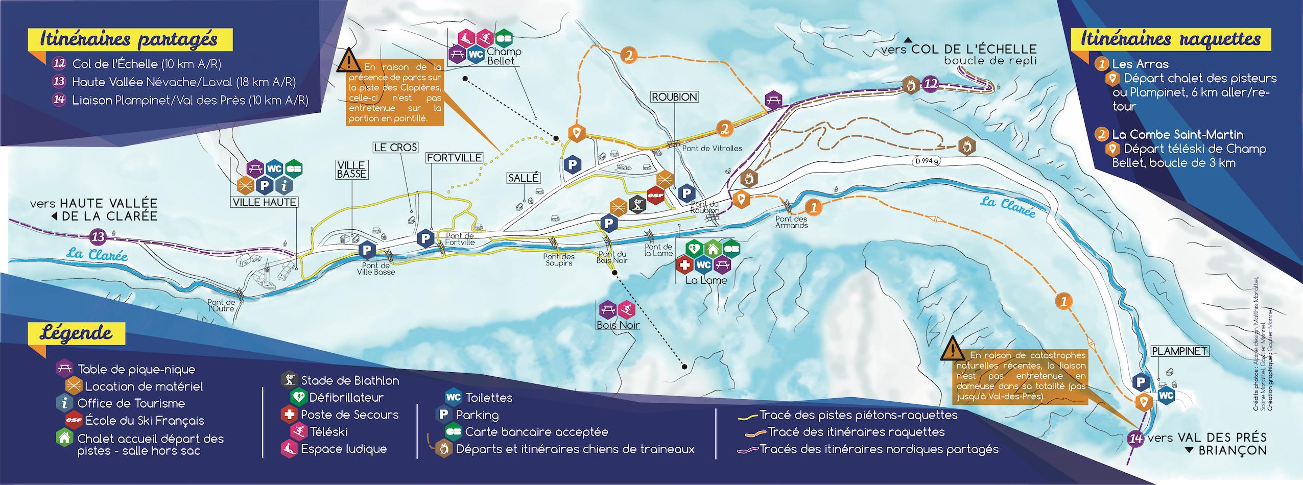 plan piste itinéraires piéton raquette névache clarée