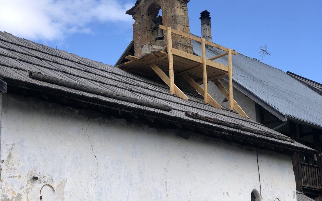 Début des travaux de restauration du clocheton de la chapelle Saint-Jean-Baptiste
